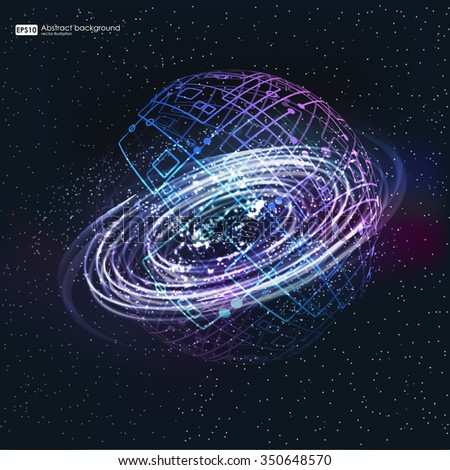 abstrsct space - a black hole. Cosmos Black hole in space. Stars and material falls into a black hole. - stock vector