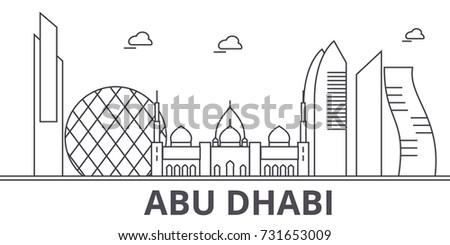 Abu Dhabi Architecture Line Skyline Illustration Stock