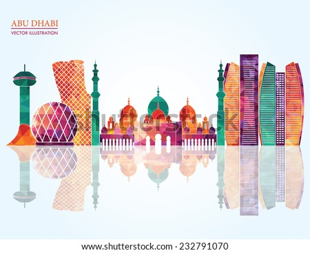 Abu Dhabi skyline - vector illustration - stock vector