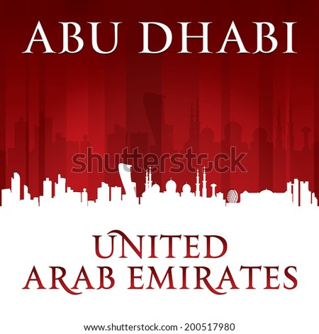 Abu Dhabi UAE city skyline silhouette. Vector illustration - stock vector