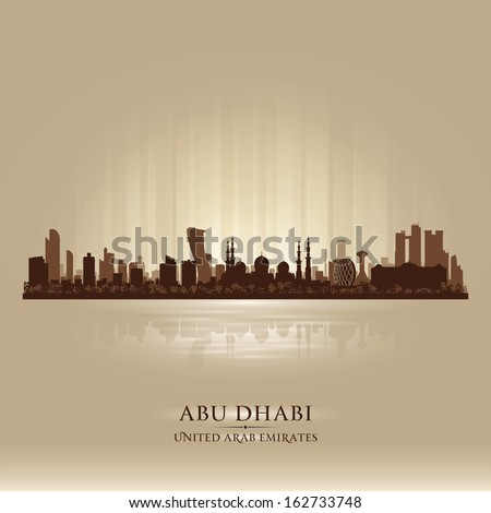 Abu Dhabi UAE city skyline vector silhouette illustration - stock vector