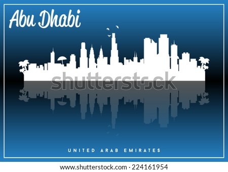 Abu Dhabi, United Arab Emirates, skyline silhouette vector design on parliament blue and black background. - stock vector