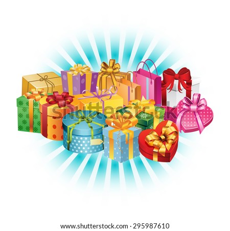 Abundance of Holiday Gifts - Bright Light Background  - stock vector