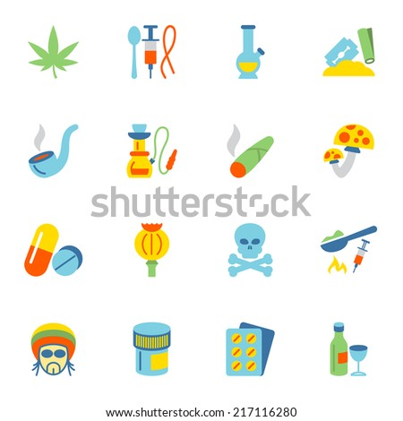 Abuse addictive poison drugs icons flat set isolated vector illustration. - stock vector