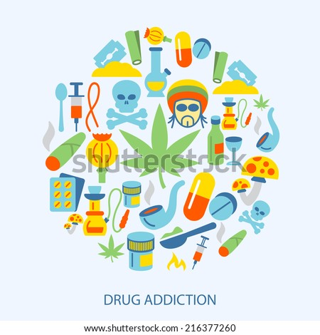 Abuse addictive poison mushroom drugs decorative icons flat set vector illustration - stock vector