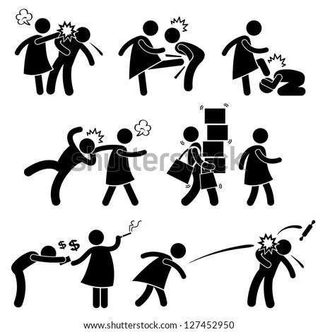 Abusive Wife Girlfriend Weak Husband Boyfriend Stick Figure Pictogram Icon - stock vector