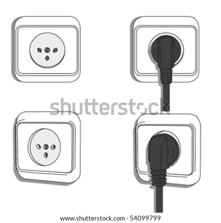 AC power sockets and plugs - stock vector