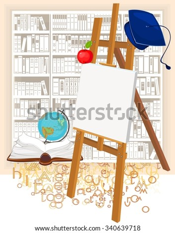 Academic cap and easel - stock vector