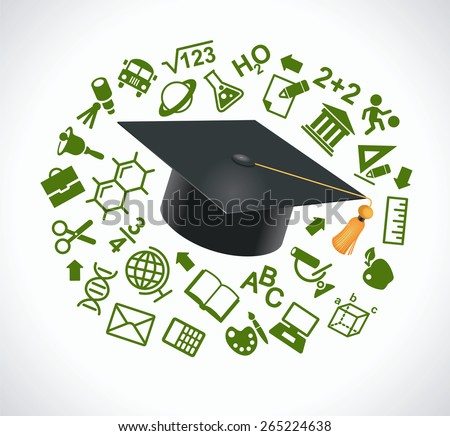 Academic cap surrounded by icons of education. Concept learning. File is saved in AI10 EPS version. This illustration contains a transparency    - stock vector