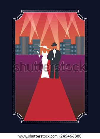 Academy awards hollywood poster with stylish elegant dressed man and woman in simple retro style poster. Eps10 vector illustration. - stock vector