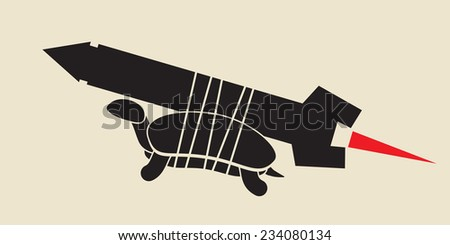 acceleration - simple solution turtle fastened to missile - stock vector