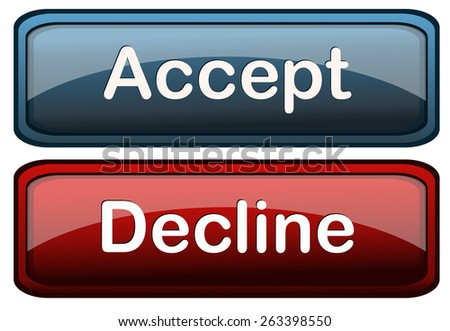 Accept and Decline Glossy Buttons, Vector Illustration isolated on White Background.  - stock vector