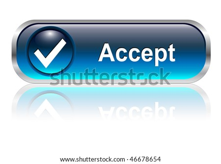 Accept, check symbol icon, button, blue glossy with shadow - stock vector
