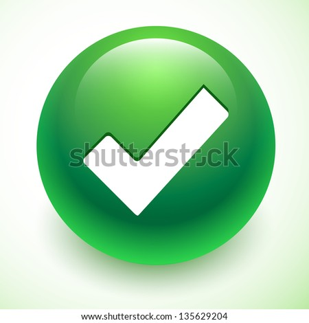 Accept green symbol isolated - stock vector