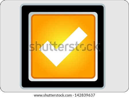 accept yellow square web icon on grey background