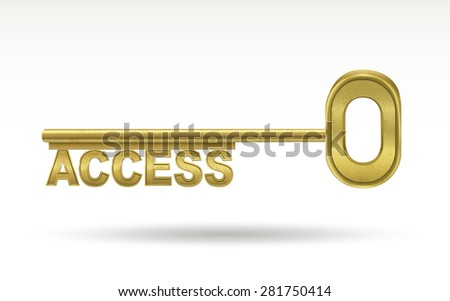 access - golden key isolated on white background