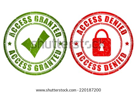 Access granted denied stamp - stock vector