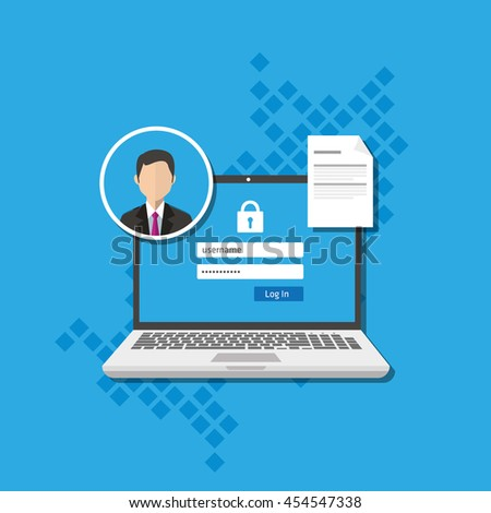 access management authorize software authentication login form system - stock vector