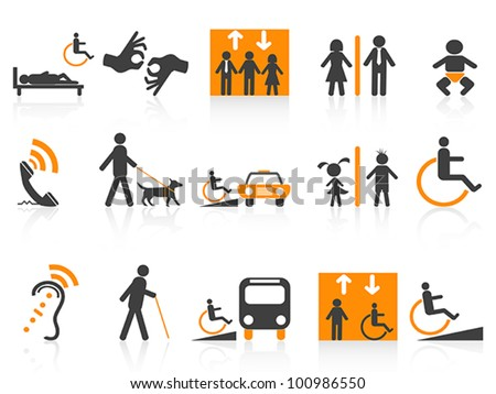Accessibility icons set - stock vector