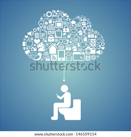 accessing cloud in the toilet - stock vector