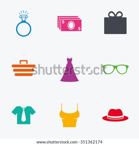 Accessories, clothes icons. Shirt with tie, glasses signs. Dress and engagement ring symbols. Flat colored graphic icons. - stock vector