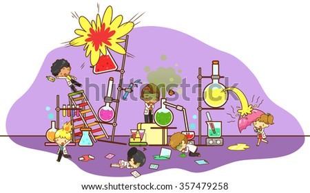Accident and destruction while kid scientists experimenting in science chemistry laboratory with refinery explode and toxic gas acid leakage creating dangerous environment in isolated (cartoon vector) - stock vector