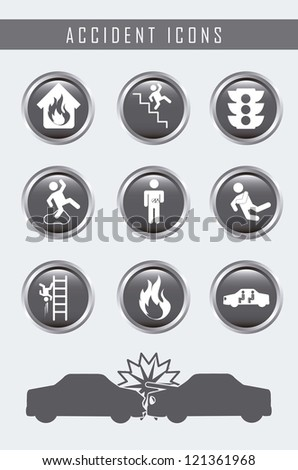 accident icons over gray background. vector illustration - stock vector