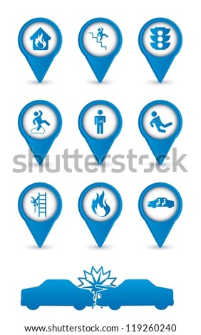 accident icons over white background. vector illustration - stock vector