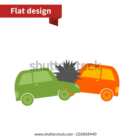Accident two cars flat design icon, orange and green color - stock vector