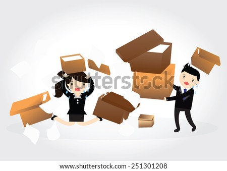 Accident with some businessman and business woman carrying a pile of cardboard boxes - stock vector