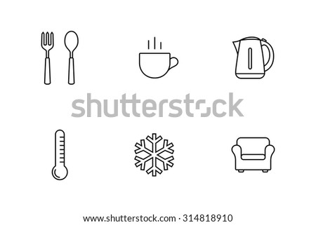 Accommodation and rent out lodging icon set. Vector illustration - stock vector