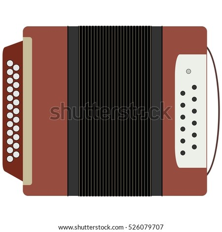 Accordion, Russian national musical instrument. The illustration on a white background.