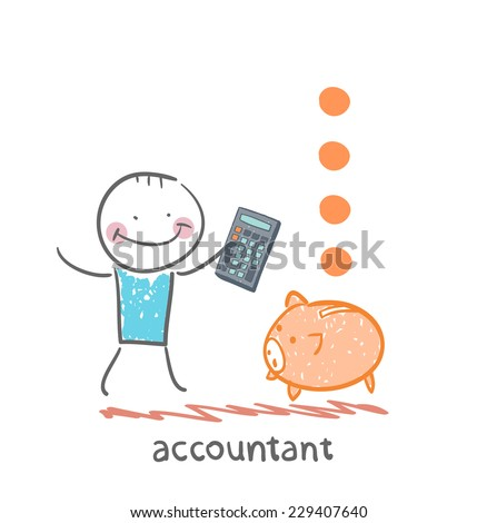 accountant with a calculator counting money falling into a pig-coin box - stock vector