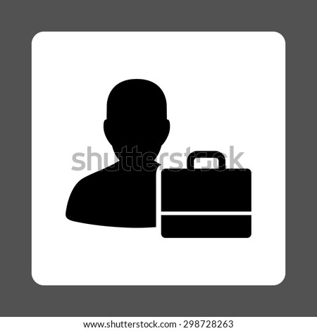 Accounter icon from Commerce Buttons OverColor Set. Vector style is black and white colors, flat square rounded button, gray background.