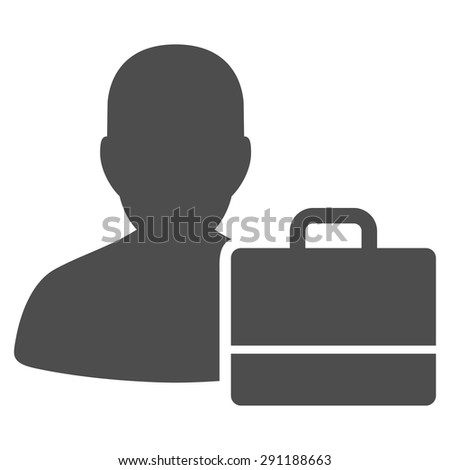 Accounter icon from Commerce Set. Vector style: flat symbol, gray color, rounded angles, white background.