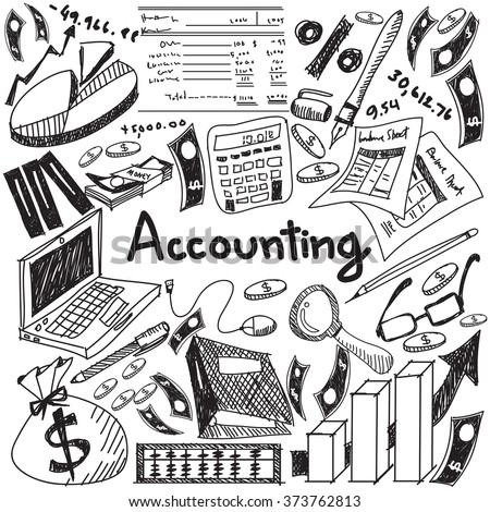 Accounting and financial education handwriting doodle icon of banknote, money, balance sheet and cost and revenue sign and symbol in isolated background paper for business presentation title (vector)