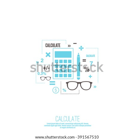 Accounting and Taxes. The concept of counting profit business activities. Bank and stock calculations. Line art - stock vector