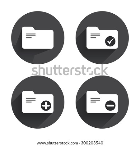 Accounting binders icons. Add or remove document folder symbol. Bookkeeping management with check box. Circles buttons with long flat shadow. Vector - stock vector