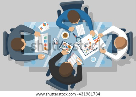 Accounting concept. Vector flat design. Teamwork on accounting, planning strategy, analysis, marketing research, financial management. Business meeting, teamwork, brainstorming. Businessmen in work. - stock vector