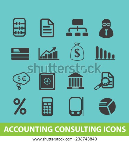 accounting consulting icons, signs set, vector - stock vector