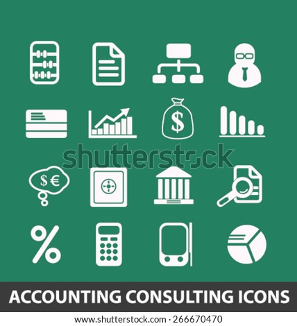 accounting, consulting services isolated icons, signs, illustrations concept website internet design set, vector - stock vector