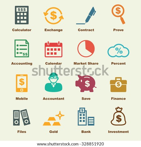 accounting elements, vector infographic icons - stock vector