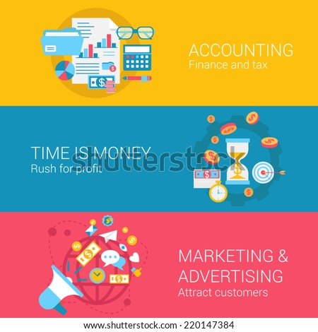Accounting marketing advertisement concept flat icons set of time is money profit finance tax and vector web banners illustration print materials website click infographics elements collection - stock vector