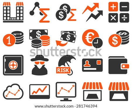 Accounting service and trade business icon set. These flat bicolor symbols use orange and gray colors. Vector images are isolated on a white background. Angles are rounded. - stock vector