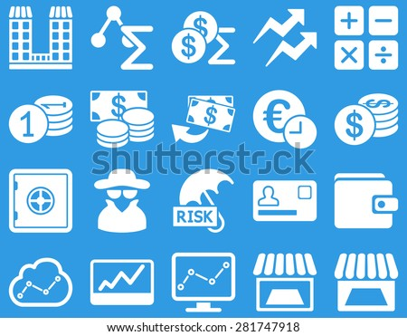 Accounting service and trade business icon set. These flat symbols use white color. Vector images are isolated on a blue background. Angles are rounded. - stock vector
