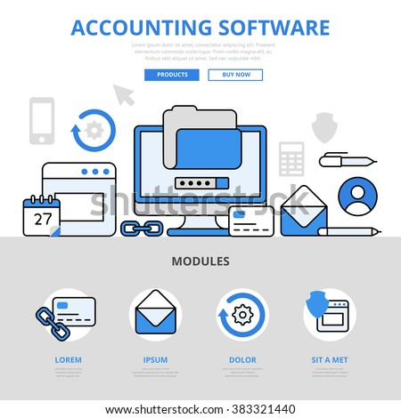 Accounting Software App Application Concept Flat Line Art Vector Icons Modern Website Infographics Illustration Hero