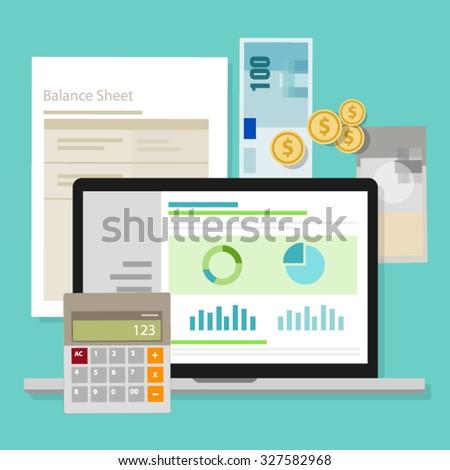 accounting software balance sheet money calculator application laptop - stock vector