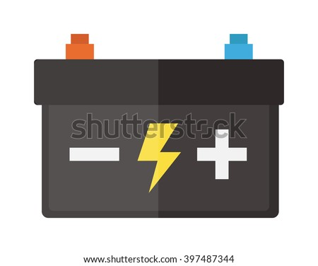 Accumulator battery energy power and electricity accumulator battery. Accumulator battery alkaline generation energy. Battery accumulator car auto parts electrical supply power isolated 12v vector.  - stock vector