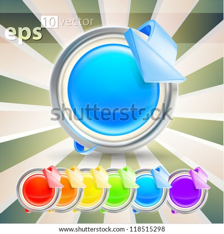 Accurate glossy buttons with arrow poiner bending around it, six colors, eps10 vector icon emblem - stock vector