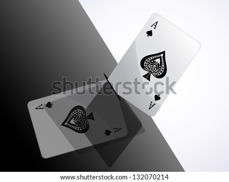 ace club on black background with shiny shadow reflex - stock vector
